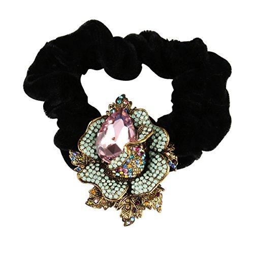 Women Elastic Ponytail Holders Rope Prom Velvet Hair Band Rhinestones Scrunchie Mother's Day Gift