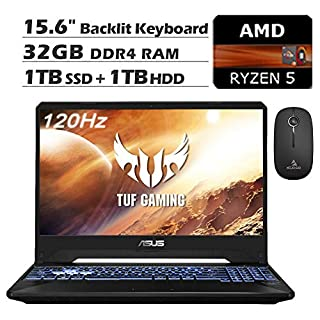 2020 ASUS TUF 15.6 Inch 120Hz FHD 1080P Gaming Laptop, AMD Ryzen 5 3550H up to 3.7GHz, GeForce RTX 2060 6GB, 32GB RAM, 1TB SSD (Boot) + 1TB HDD, Backlit KB, Win10 + NexiGo Wireless Mouse Bundle