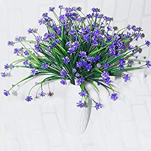 HEJIAYI Artificial Fake Flowers Faux Daffodils Outdoor Greenery Shrubs Plants Plastic Bushes Window Box UV Resistant 4 Branches Fence Indoor Outside Hanging Planter Wedding Cemetery Décor 106