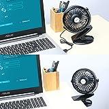 SkyGenius Battery Operated Clip on Mini Desk Fan, Black Variant Image
