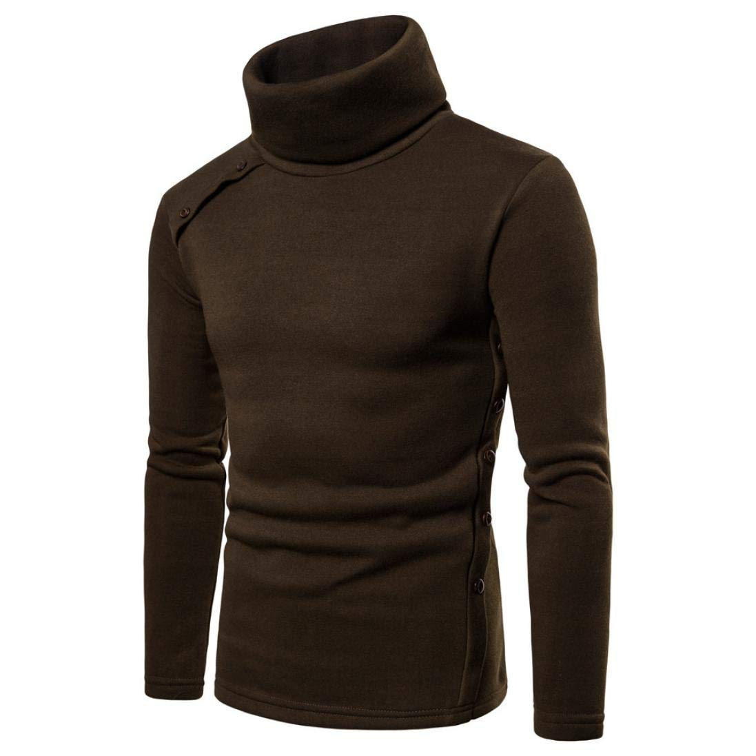 kaifongfu Autumn Winter Men's High Collar Solid Color Button Decorative Pullover Sweater TopsGreenM