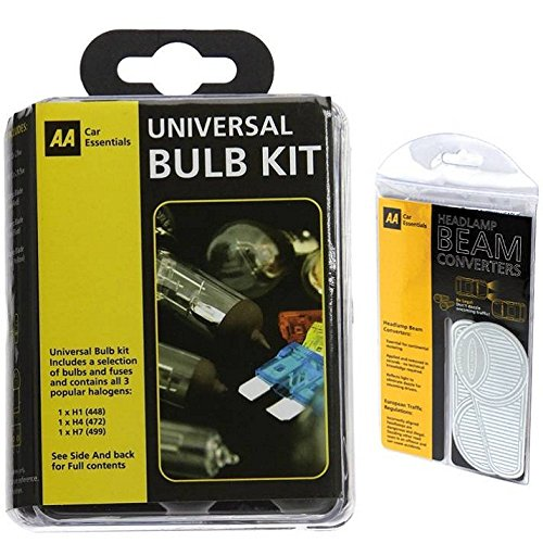 AA Euro Travel Kit Beam Converters Adapters and AA Universal Spare Bulbs Kit AA Travel Essentials