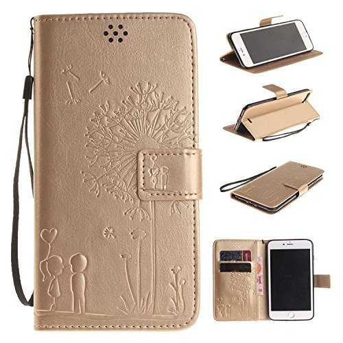 iPhone SE Case Apple iPhone 6SE Flip Wallet Case,Bat King Dandelion Witness Love[Kickstand]Leather Wallet Flip Stand Cover with Strap for Apple iPhone 6SE 4 inch(Didn't fit iPhone 6/6s)(Golden)