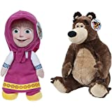 """MASHA AND THE BEAR - Pack of 2 characters of Plush toys of the movie """"Masha and the Bear"""" - The pack includes """"Masha"""" (sitting 9""""-25cm/standing 14""""-36cm) and """"The Bear"""" (sitting 11""""/30cm) - Quality Super Soft"""