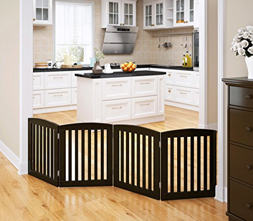 PAWLAND Wooden Freestanding Foldable Pet Gate for Dogs, 24 inch 4 Panel Step Over Fence, Dog Gate for The House, Doorway, Stairs,Extra Wide, Espresso