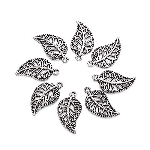 Metal Leaf Charms Charm - Craftdady 20 Pieces Antique Silver Tibetan Style Hollow Leaf Beads DIY Charms Pendants, 18x10x1mm