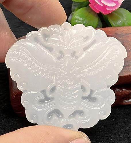 New Traditional Carved White Butterfly Jade Pendant Necklace Jewellery YQ005 Carved Jade Butterfly Pendant