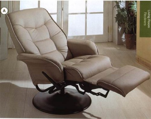 - Leatherette Bone Cushion Recliner by Coaster Furniture