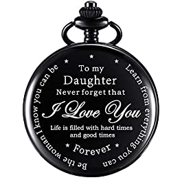 Daughter Gift Pocket Watch Personalized Pattern Steampunk Watch Gift from Dad Mom for Birthday Chris