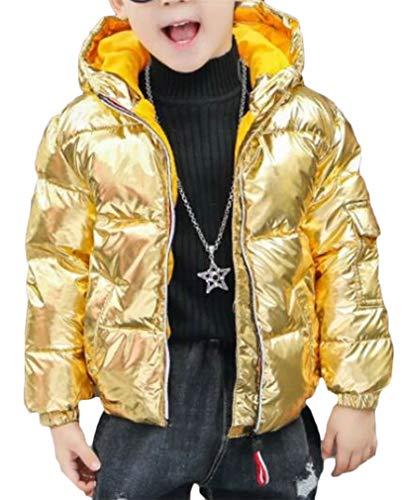 XTX Boys Pocket Metallic Down Hoody Padded Sport Zip Jacket Anoraks Parka Coat Golden ()