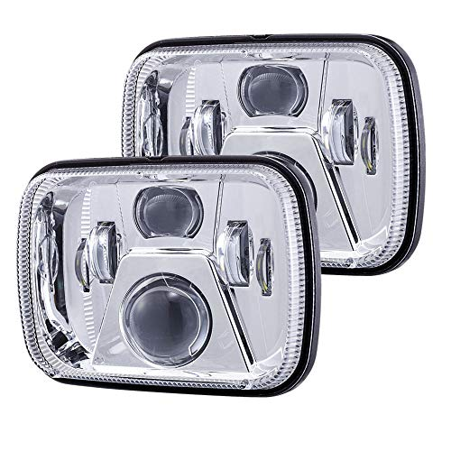 2018 New Osram Chips 110W 5x7 Led Headlights 7x6 Led Sealed Beam Headlamp with High Low Beam H6054 6054 Led Headlight for Jeep Wrangler YJ Cherokee XJ H5054 H6054LL 6052 6053 Silver 2 Pcs