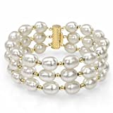 14k Yellow Gold 8-8.5mm White Freshwater Cultured Pearl 3-rows Bracelet, 7.25''