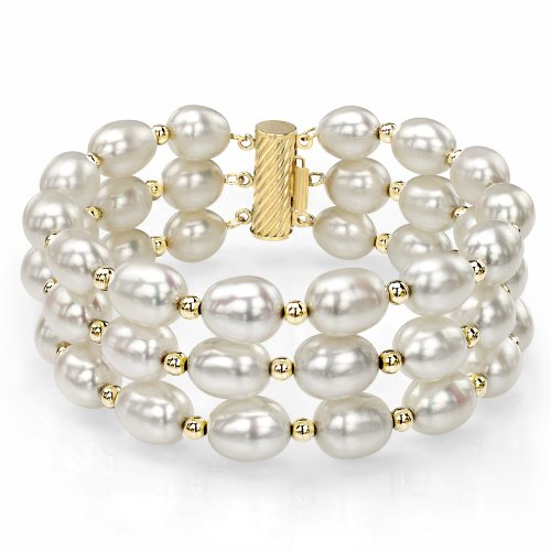 14k Yellow Gold 8-8.5mm White Freshwater Cultured Pearl 3-rows Bracelet, ()