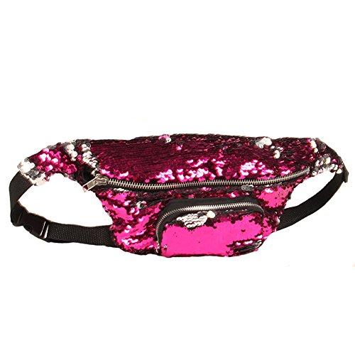 Amorar Versátil Bolso de Hombro Bolsos Cruzados Mochila de Hombro Riñonera Bolso Casual Bolso para Hombres Mujeres Rosy + plata