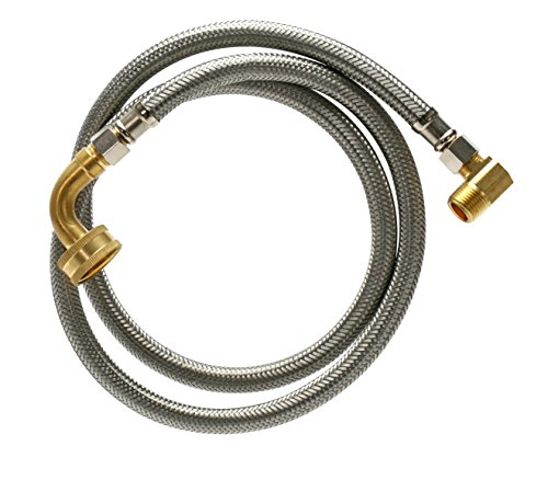 Fluidmaster B6W72K Dishwasher Connector With 1/2-Inch and 3/4-Inch Elbow Fittings, Braided Stainless Steel - 3/8 Female Compression Thread x 3/8 Female Compression Thread, 6 Ft. (72-Inch) Length by Fluidmaster (Image #1)