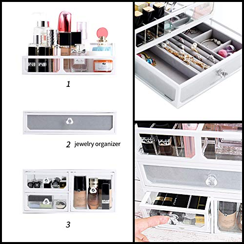 InnSweet Glass Makeup Cosmetic Organizer Holder, 3 Piece Jewelry and Cosmetic Storage Display Boxes with 4 Drawers, White