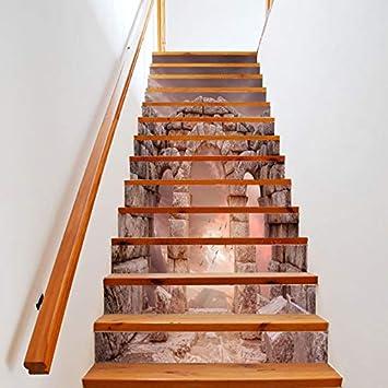 Conjunto De 6 Piezas Pegatinas De Escaleras Columna De Piedra Del Hogar Pegatinas De Escalera De Vinilo Escalera Decoración Mural Impermeable Para El Pasillo Decoración Nueva 18 * 100cm: Amazon.es: Bricolaje y herramientas