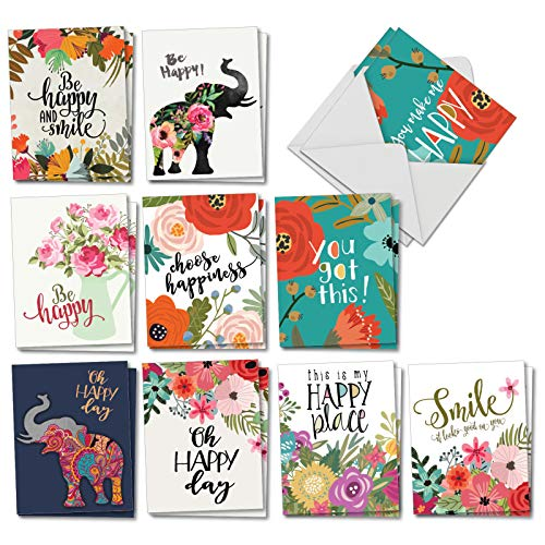 - Optimisms - 20 Inspirational All Occasion Cards with Envelope (4 x 5.12 Inch) - Motivational Greeting Note Card Set - Stay Positive All-Occasion Stationery Pack (2 Each, 10 Designs) AM6631OCB-B2x10