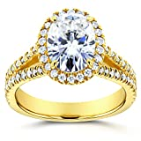 Oval Moissanite Engagement Ring with Halo Diamond 2 CTW 14k Yellow Gold