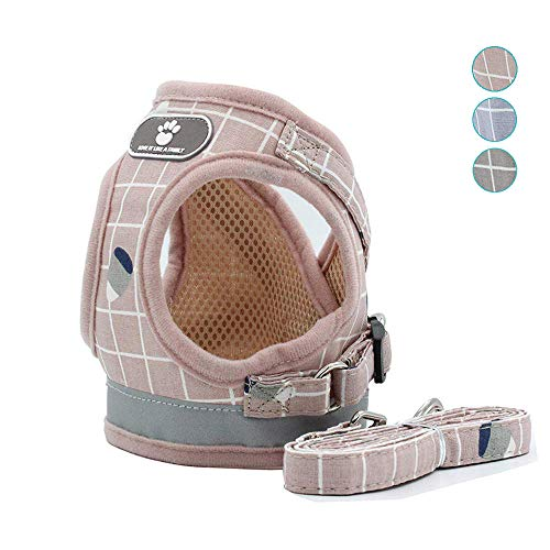 XPangle Mesh Dog and Cat Harness with Leash, Escape Proof Cat Harnesses - Adjustable Reflective Soft Corduroy Dog Harnesses Vest No Choke for Small Large Dogs Easy Walk (XL(Chest:20.4-21.6in), Pink)