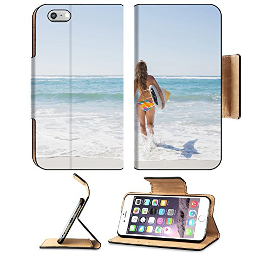 Liili Premium Apple iPhone 6 Plus iPhone 6S Plus Flip Pu Leather Wallet Case Beautiful surfer girl walking to the sea with her surfboard on a sunny day - Sunnies Surf