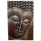 Buddha Panel Serene Sust Wood 24 inch x 36 H w Eco Friendly Livos Mocha Oil Fin