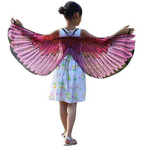 (FarJing Child Kids Boys Girls Bohemian Butterfly Shawl Pashmina Costume Accessory(Pink)