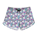 Instantarts College Girl Beach Shorts Animal Bulldog High Waist Yoga Sport Pant XS
