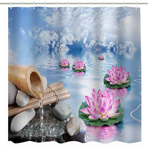BROSHAN Spa Shower Curtain Set,Zen Spring Nature Asian Lotus Flower in Water Garden Art Print Bath Curtain,Polyester Waterproof Fabric Bathroom Accessories with Hooks,72x72 Inch