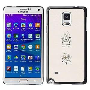 Be Good Phone Accessory // Dura Cáscara cubierta Protectora Caso Carcasa Funda de Protección para Samsung Galaxy Note 4 SM-N910 // Animal Floral Art Minimalist Beige Painting