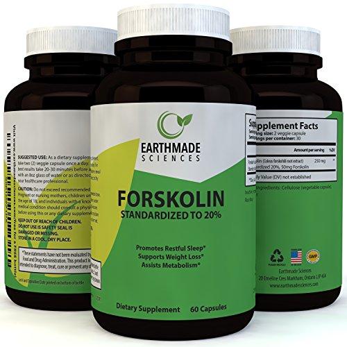 Natural Forskolin Supplement for Men & Women - 125 mg Weight Loss Diet Pills Pure Coleus Forskohlii Extract - 20% Forskolin Capsules Boost Metabolism Burn Fat Increase Energy - Earthmade Sciences