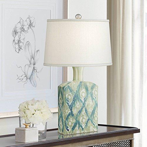 Sheila Modern Table Lamp Ceramic Green Blue Diamond Pattern Off White Drum Shade for Living Room Family Bedroom - Possini Euro -