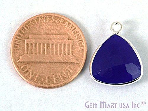 Amethyst Chalcedony Bezel Connector 12mm Trillion Silver Plated Single Bail by GemMartUSA