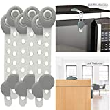 Childproof Cabinet Locks Child Safety Adjustable Length, Refrigerator Lock Adhesive No Tools or Drilling, Baby Safety Locks, Furniture Child Lock for Baby Proofing Fridge,Drawer,Toilet And More (6 pcs Gray)