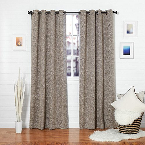 (Homier Brown Linen Blend Window Curtain/drape/panel/treatment/covering - Grommet Top Panel - Brown/Sandy/Chocolate Tweed Linen Drapery- 50 x 63 Inches Long, 2 Panels Pair)