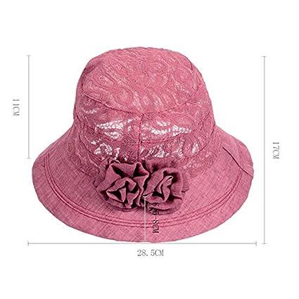 Leisial Chapeau de Soleil pour Femme en Coton Dentelle Pliable R/églable Visi/ère Bobs Protection Solaire et UV pour Voyage d/ét/é Plage au Bord de la Mer