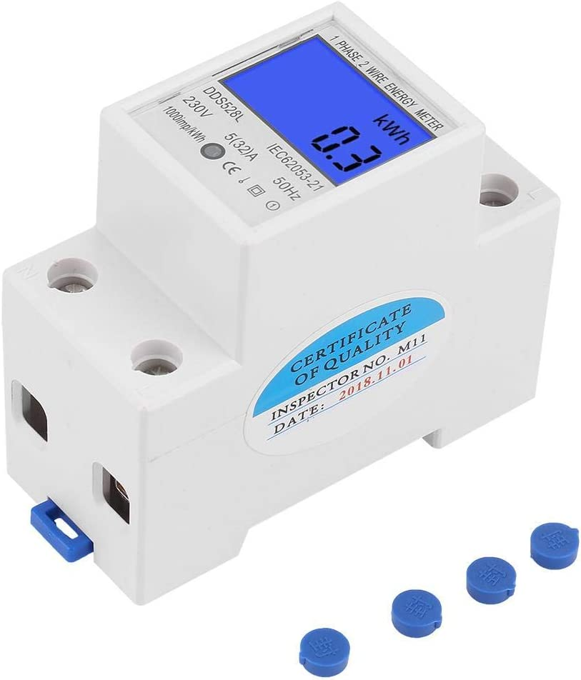 5-32A 230V Light Weight Low Power Consumption High Precision LCD Backlight Single Phase Energy Meter Watt KWh Meter DIN Rail Mounting Digital Energy Meter