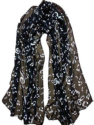 Fashion Music Note Print Scarf Soft Wrap Long Shawl Scarves Neckerchief for Women