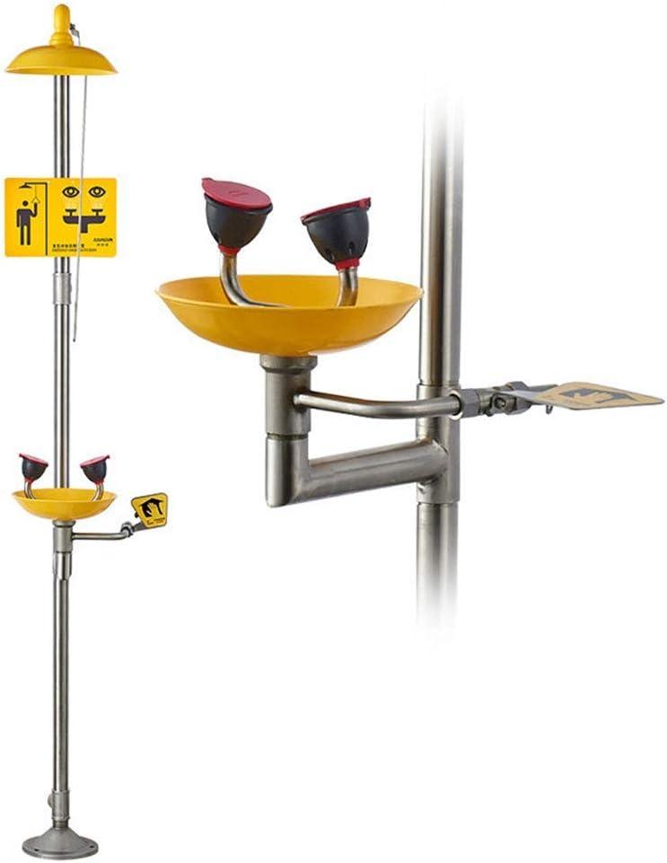 XCJJ Estación de lavado de ojos de emergencia de acero inoxidable, kit combinado de sistema de lavado de ojos/cara y ducha, revestimiento anticorrosivo