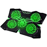Adjustable Mount Stand Height Angle Laptop Cooler with 5 Quiet Fans for 12-17.3 Inch Laptop, Cooler Pad with Green 5 LED Lights, Dual 2 USB 2.0 Ports Laptop Cooling Pad (5 Fans)