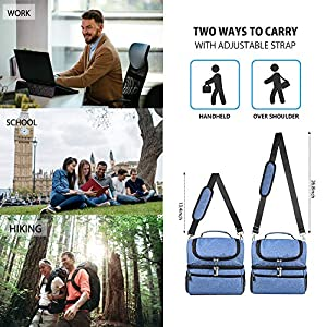Ceephouge Lunch Bag for Men, Insulated Lunch Box with Shoulder Strap 14L Large Capacity Lunch Tote Bag for Work, Outdoor (Navy)
