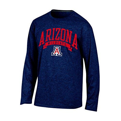 Champion NCAA Arizona Wildcats Adult Men Long sleeve Crew Neck Tee, Small, Navy Heather -