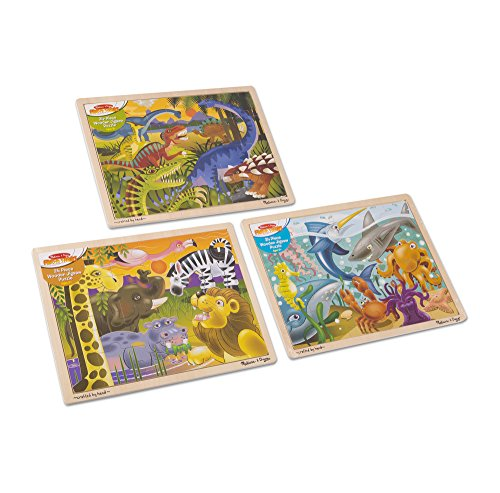 - Melissa & Doug 24 Piece Wooden Jigsaw Puzzle Dinosaur, Safari & Ocean Puzzle (3 Pack)