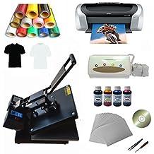Techtongda New 15x15inch Flat Heat Press Machine Epson Printer Vinyl Inks CISS Transfer Paper Business Kit