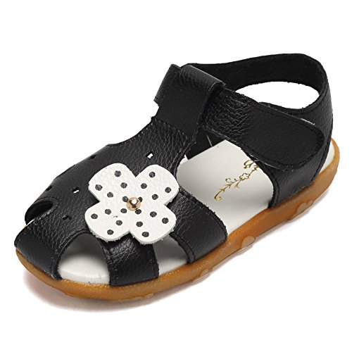 Toe Flower Girl (CIOR Girls' Closed-Toe Leather Solid Flower Outdoor Sport Casual Sandals(Toddler/Little Kid),TLX01,Black,24)