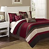 Madison Park Boulder Stripe 7 Piece Comforter Set, California King, Red