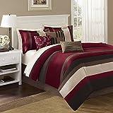 Madison Park Boulder Stripe 7 Piece Comforter Set, King, Red