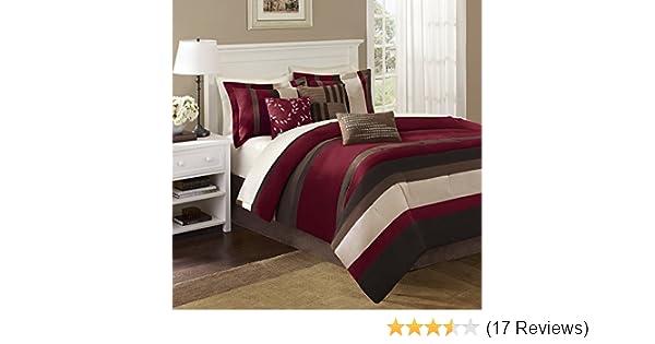 f08da764828 Amazon.com  Madison Park Boulder Stripe 7 Piece Comforter Set Red Queen   Home   Kitchen