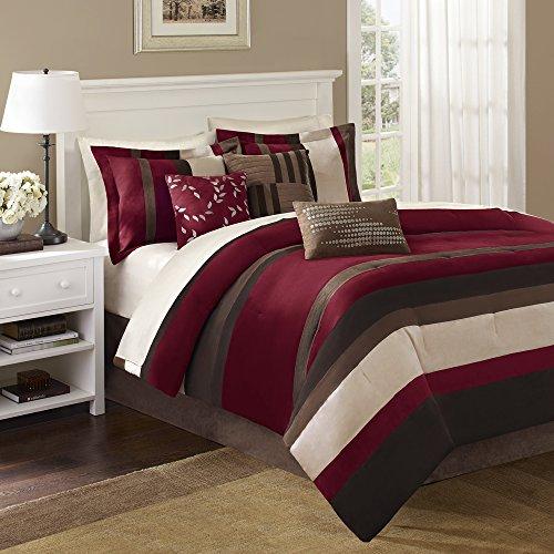 (Madison Park Boulder Stripe Queen Size Bed Comforter Set Bed in A Bag - Burgundy, Brown, Stripe – 7 Pieces Bedding Sets – Micro Suede Bedroom Comforters)