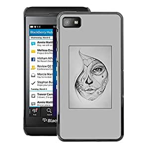A-type Arte & diseño plástico duro Fundas Cover Cubre Hard Case Cover para Blackberry Z10 (Woman Mysterious Halloween Tattoo)